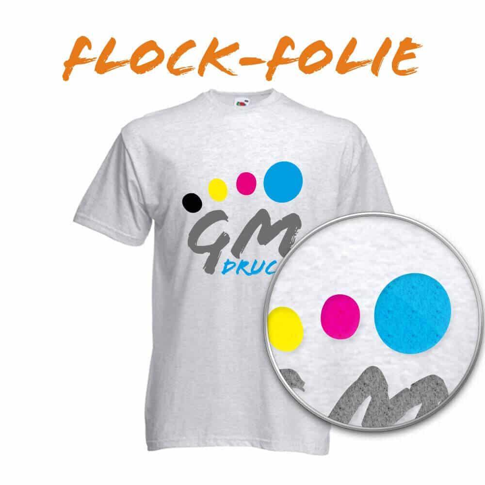 Flockdruck - Textildruck mit Flockfolie bei GM Druck in Halle, die Textildruckerei